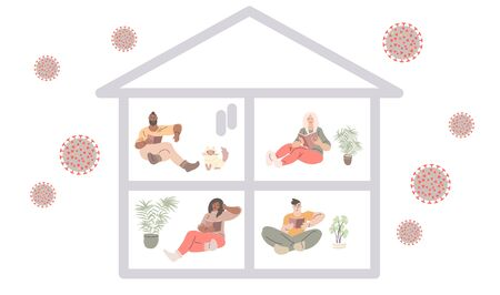 Various people staying at home for quarantine with the virus outside. Vector art in minimal flat style.  イラスト・ベクター素材