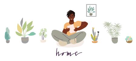 Man reading from her tablet while staying at home for quarantine. Vector art in minimal style. Handwritten phrase.