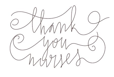 Beautiful handwritten brush lettering vector illustration phrase Thank You Nurses for Nurses Week celebration.