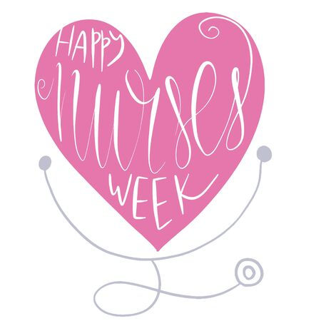 Beautiful handwritten brush lettering vector illustration phrase Happy Nurses Week with heart decoration isolated on white.  イラスト・ベクター素材