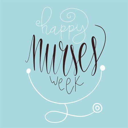 Beautiful handwritten brush lettering vector illustration phrase Happy Nurses Week.