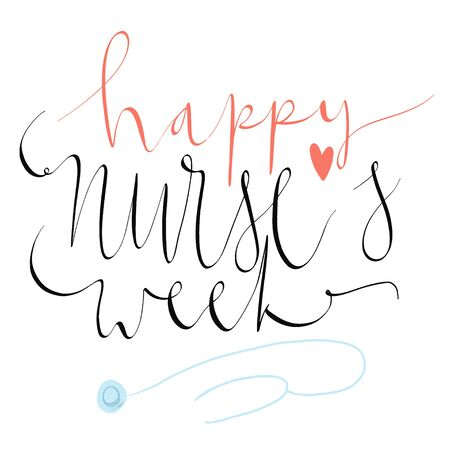 Beautiful handwritten brush lettering vector illustration phrase Happy Nurse's Week with heart decoration isolated on white.  イラスト・ベクター素材