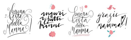 Handwritten vector lettering set for Buona Festa Della Mamma in Italian language. Small birds and flowers. Translation: Happy Mother's day, Best Wishes To All Mothers, Thank you Mother