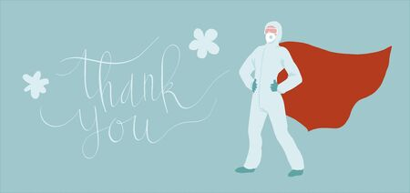 Medical professional in virus protection suit standing proudly while wearing super hero cape. Vector art in minimal style. Thank you handwritten phrase.  イラスト・ベクター素材