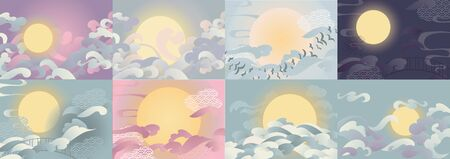 Vector illustration backgrounds set for chinese valentine Qixi festival with couds and full moon.
