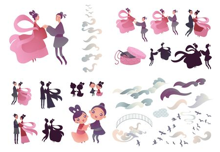 Vector illustration set for chinese valentine Qixi festival with couple of cute cartoon characters holding hands. Vectores
