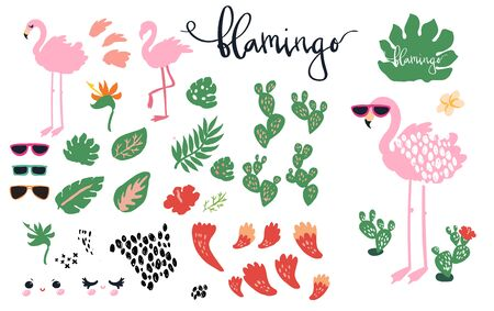 Flamingo, cacti, tropical leafs and sunglasses, summer theme illustrations set. Cute vector art isolated on white.