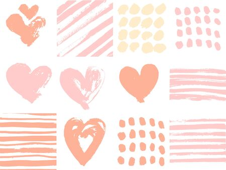 Dry brush strokes and hearts shape set. Vector art for happy Valentines Day.