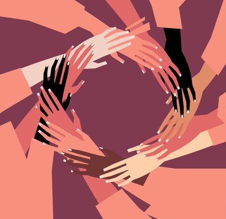 Vector illustration of a people's hands with different skin color together. Minimal flat style art. 矢量图像