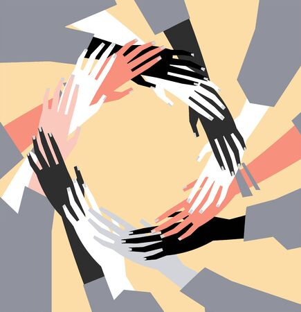 Vector illustration of a people's hands with different skin color together. Minimal flat style art.