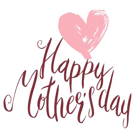 Handwritten vector lettering Happy Mother's day with simple dry brush heart ornament isolated on white.