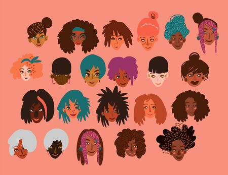 Set of funny cartoon character portraits of happy smiling women of different race together. Minimal style illustration isolated on white.