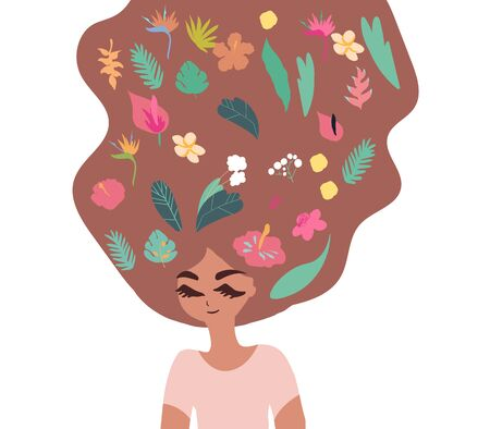 Cartoon woman character with hair flowing upwards filled with various tropical plants and flowersa. Hair care beauty concept vector illustration. Hand drawn minimal art.