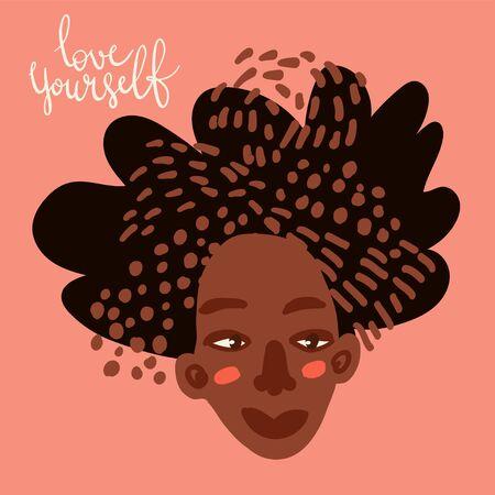 Cartoon woman character with pretty hair. Hair care beauty concept vector illustration. Hand drawn minimal art. 일러스트