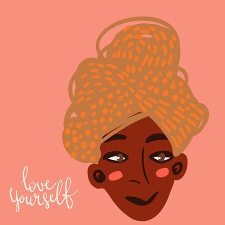 Cartoon woman character with hair wrapped in a towel. Hair care beauty concept vector illustration. Hand drawn minimal art.