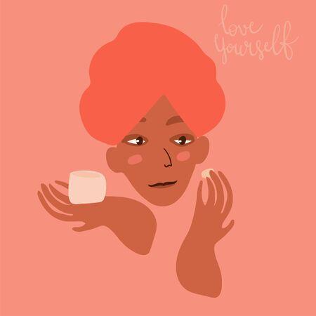 Cartoon woman character applying make up. Skin care beauty concept vector illustration. Hand drawn minimal art.
