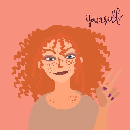 Cartoon woman character with pretty hair. Hair care beauty concept vector illustration. Hand drawn minimal art. 向量圖像