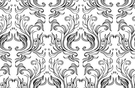 Ornamental hand drawn pattern illustration with abstract vignette elements. Black and white tile wallpaper. Ink vintage victorian baroque style. Design element. 일러스트