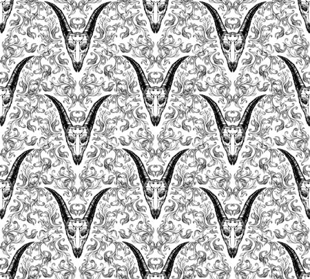 Ornamental hand drawn pattern illustration with abstract vignette elements and horned animal skull. Black and white tile wallpaper. Ink vintage victorian baroque style. Design element.