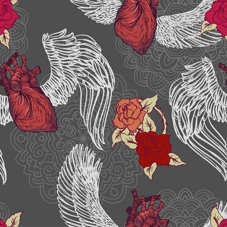Realistic detailed hand drawn tile pattern of human heart with wings, roses, leafs, thorns, abstract mandala. Dark Valentine's day goth graphic tattoo style image. Textile, clothes, fabric, paper print.