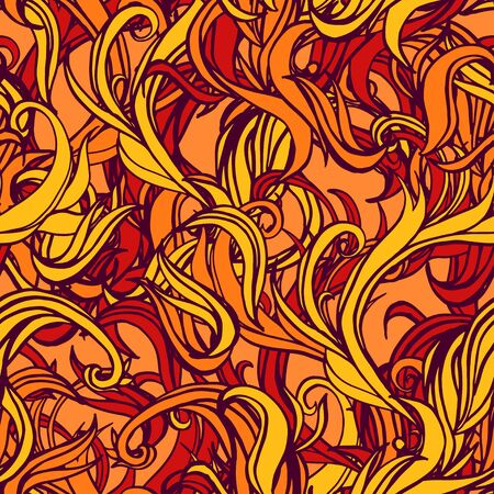 Abstract flame seamless pattern with outline.