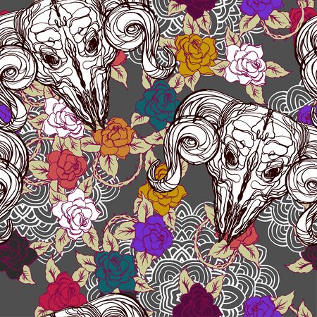 Realistic detailed tile pattern of animal skull with horns, rose, leaf, thorns, abstract decorative elements. Dark goth graphic tattoo style art. Textile, clothes, fabric, paper print.