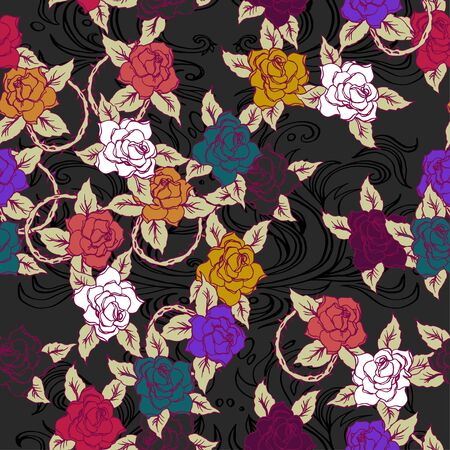 Realistic detailed tile pattern of rose, leaf, thorns, abstract decorative elements. Dark goth graphic tattoo style art. Textile, clothes, fabric, paper print.