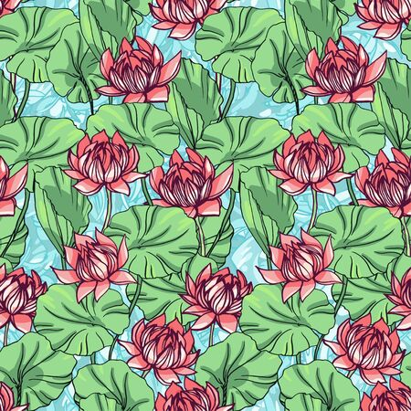 Realistic detailed hand drawn tile pattern of blooming lotus flowers and leafs on a background of water waves. Graphic tattoo style image. Textile, clothes fabric, paper print.