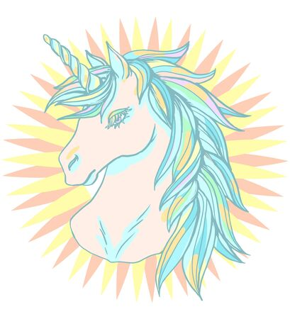 Realistic detailed hand drawn illustration of an unicorn head with mane and horn. Graphic tattoo style pastel color art of imaginary animal. Design for t-shirt, clothes, card print.