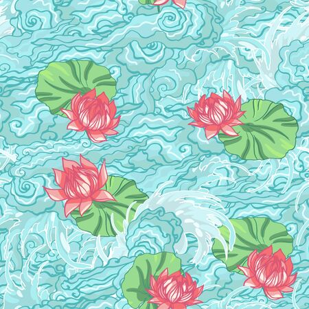 Realistic detailed hand drawn tile pattern of lotus flower and leaf, water waves, foam. Graphic tattoo style art of traditional symbol. Textile, clothes, fabric, paper print. 일러스트