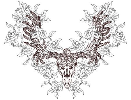 Realistic detailed hand drawn illustration of an old animal moose skull with big horns and roses. Graphic tattoo style image on occult theme. Design for t-shirt print.