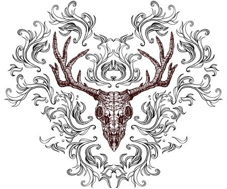 Realistic detailed hand drawn illustration of an old animal deer skull with big horns and abstract background. Graphic tattoo style image on occult theme. Design for t-shirt print.