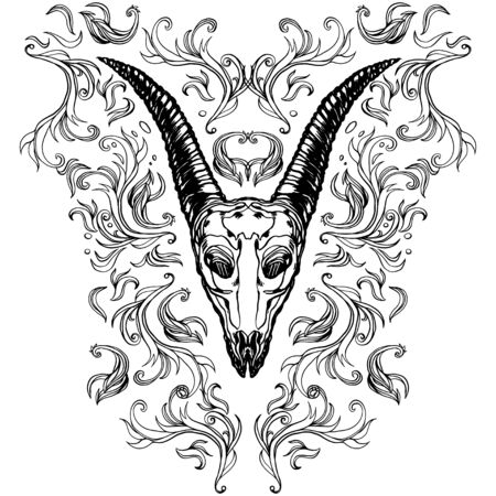 Realistic detailed hand drawn illustration of an old animal goat skull with big horns, abstract vintage elements. Graphic tattoo style image on occult theme. Design for t-shirt print.