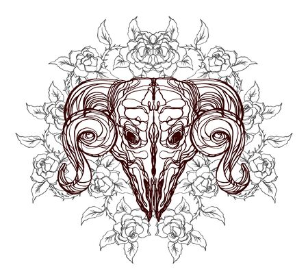 Realistic detailed hand drawn illustration of an old animal skull with big horns and roses, abstract vintage elements. Graphic tattoo style image on occult theme. Design for t-shirt clothes print. 일러스트