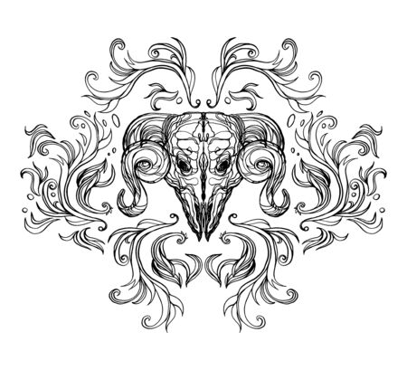 Realistic detailed hand drawn illustration of an old animal skull with big horns, abstract vintage elements. Graphic tattoo style art on occult theme. Design for t-shirt clothes print.