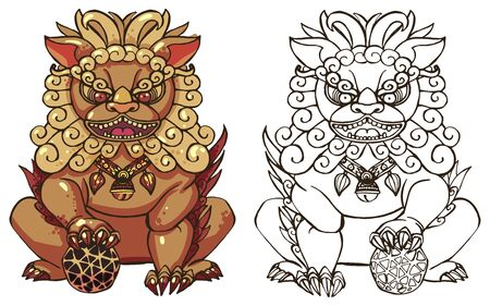 Realistic detailed hand drawn illustration of stylized chinese foo dog guardian statue. Protection symbol. Colorful graphic tattoo style image. T-shirt print. 일러스트