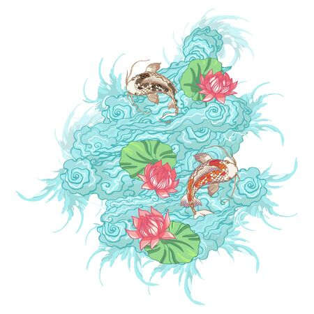 Realistic detailed hand drawn art of a black and golden koi fish swim in pound, lotus flower and leaf, water waves, foam. Graphic tattoo style art of traditional asian symbol animal. T-shirt print.