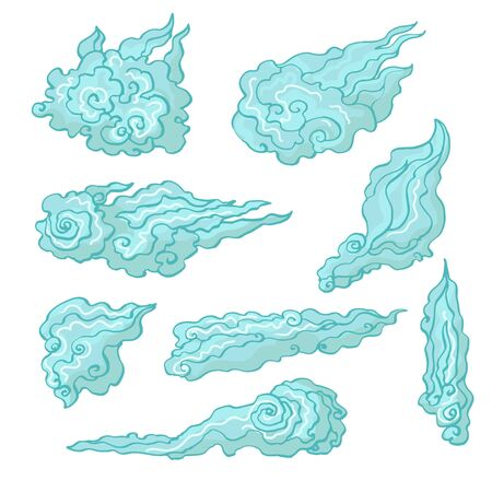 Realistic detailed hand drawn illustration set of curly clouds in old ukiyo-e paintings style. Graphic tattoo art on nature theme. Textile, clothes, fabric, paper print.
