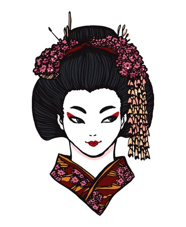 Realistic detailed hand drawn portrait of a japanese woman wearing hair in traditional style with fabric flower decorations. Graphic tattoo style monochrome illustraion. Design element for t-shirt print. 일러스트