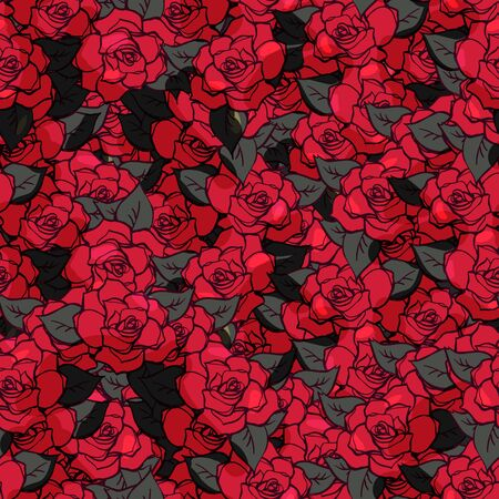 Realistic detailed hand drawn seamless pattern with rose flowers and leafs. Colorful graphic tattoo style image. Can be used as textile or paper print.