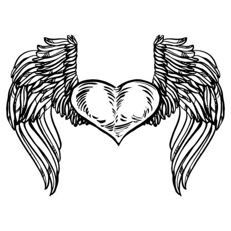 Graphic old school rockabilly tattoo style illustration of stylized flying heart with angel wings. Realistic detailed hand drawn art of love symbol. Design for t-shirt, clothes, card print. 일러스트