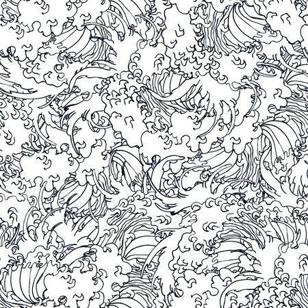 Realistic detailed hand drawn seamless pattern with water waves. Contour outline monochrome drawing. Can be used as textile or paper print. 일러스트