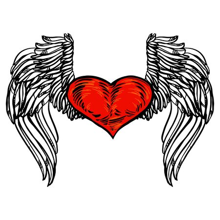 Graphic old school rockabilly tattoo style illustration of stylized flying heart with angel wings. Realistic detailed hand drawn art of love symbol.Design for t-shirt, clothes, card print.
