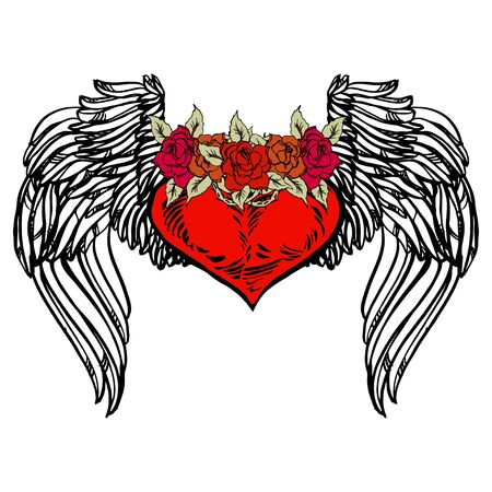 Graphic old school rockabilly tattoo style illustration of stylized flying heart with angel wings and rose wreath. Realistic detailed hand drawn art of love symbol. Design for t-shirt, clothes, card print. 일러스트