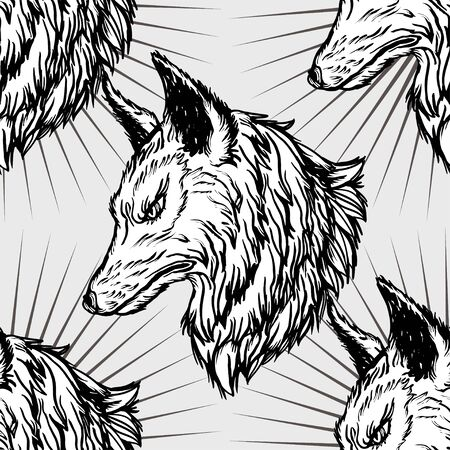 Graphic engraving style tile pattern of wolf head. Realistic detailed hand drawn art in tattoo style. Design for t-shirt, clothes, card print. 일러스트