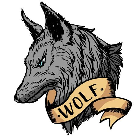 Graphic engraving style illustration of wolf head. Realistic detailed hand drawn art in tattoo style. Design for t-shirt, clothes, card print.
