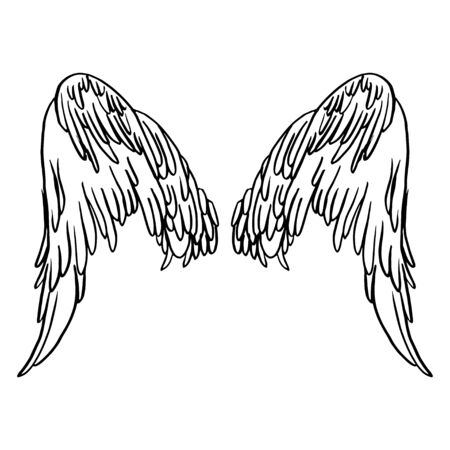 Realistic detailed hand drawn illustration of wings pair on abstract background. Graphic tattoo style image. Design element for t-shirt print.