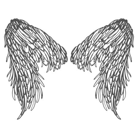 Realistic detailed hand drawn illustration of wings pair on abstract background. Graphic tattoo style image. Design element for t-shirt print. Foto de archivo - 149579803
