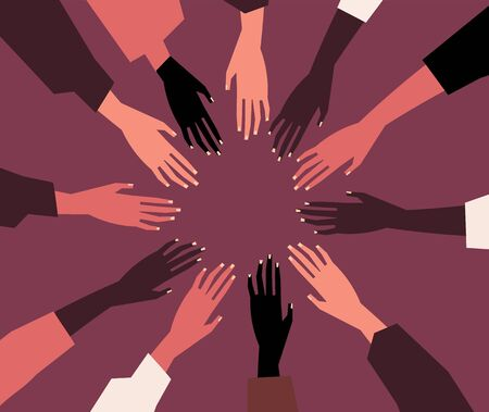 Human hands with different skin color stacked together for support. Group, unity, race equality, tolerance concept art in minimal flat style. Vector illustration card.