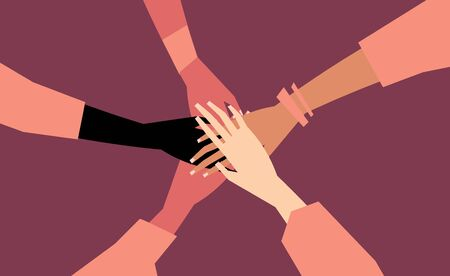 Human hands with different skin color stacked together for support. Group, unity, race equality, tolerance concept art in minimal flat style. illustration card. Illustration